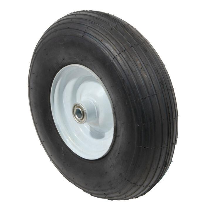 """Pneumatic Wheel. 350 lbs. Load Rating. 3"""" Hub Length. 5/8"""" Ball Bearing. Ribbed Tread. 2-ply Rating"""