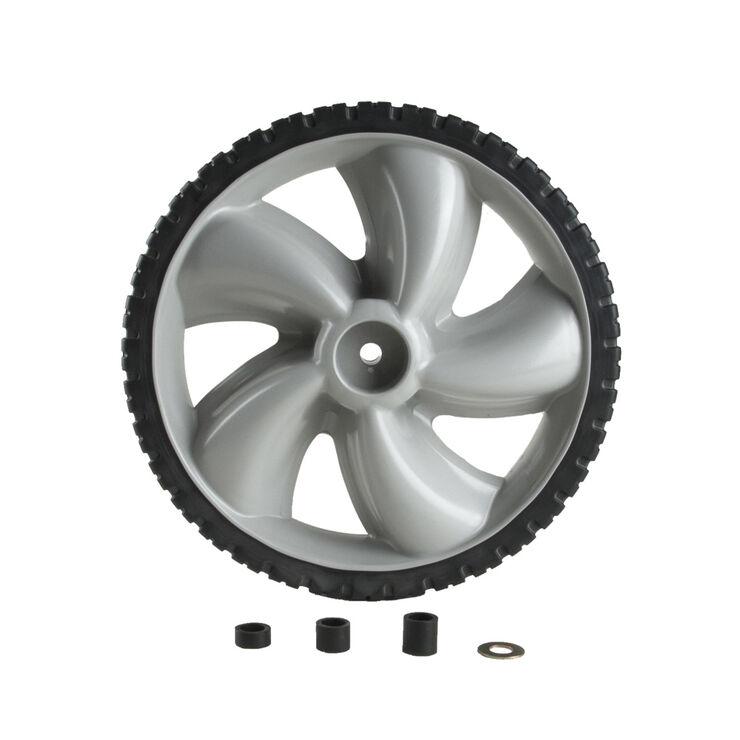 "12"" x 1.75"" Plastic Wheel. 50 lbs. Load Rating. 1/2"" Hub Length. 1/2"" Nylon Bearing. Offset Hub. Bar Tread."