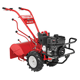 big red garden tiller