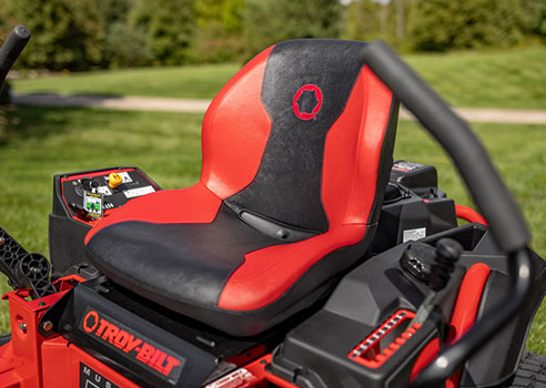 troy-bilt close up view on riding mower seat