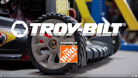 lawn mower wheel and home depot logo