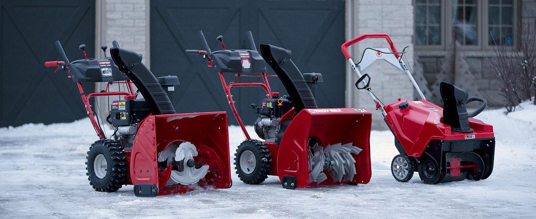 lineup of troy bilt snow blowers